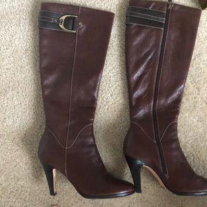 Cole haan brown buckle boots